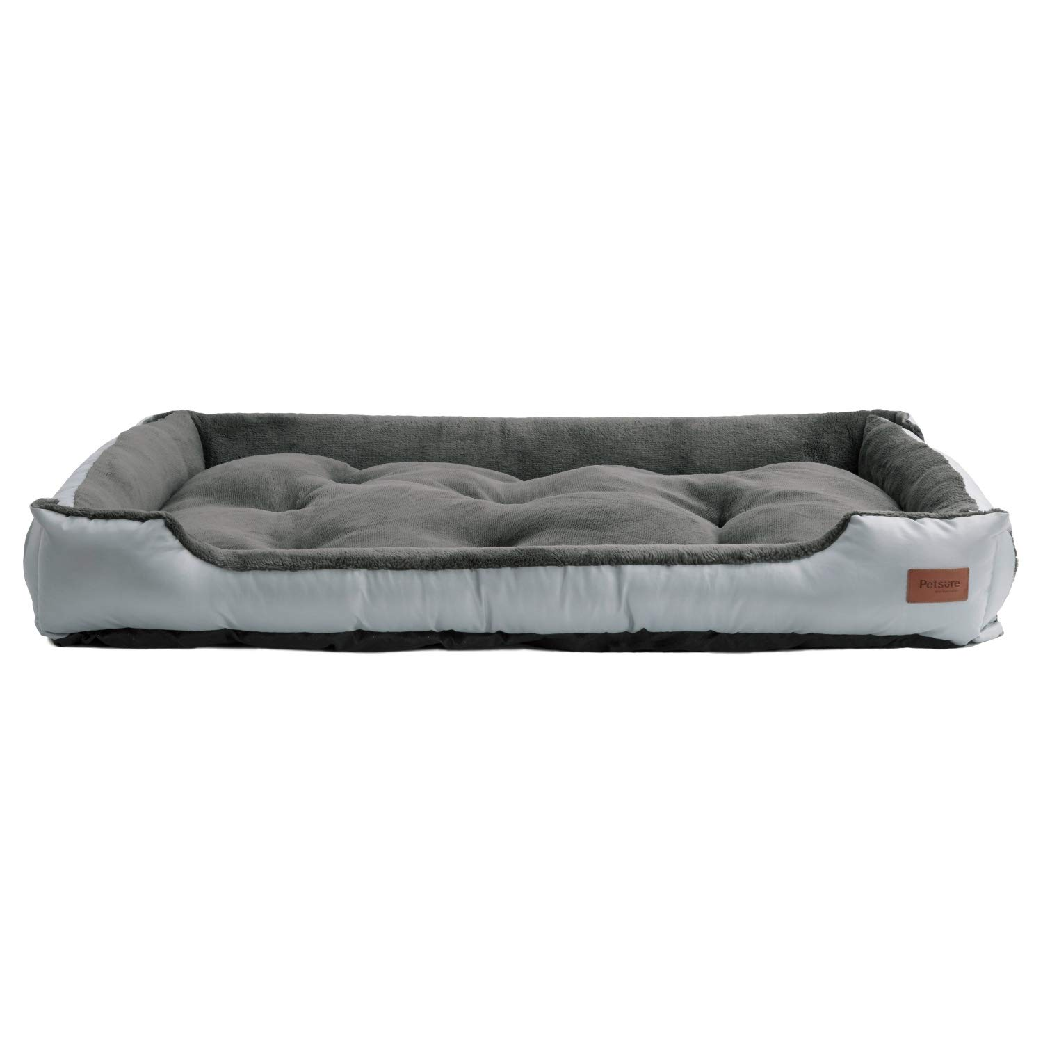 Petsure Dog Bed - Cozy Cuddler with Comfortable Bolster, Ideal for X-Large Dogs - Grooved Nonslip Pet Bed with Hook and Loop - Machine Washable, XXL Dog Bed (37.4x27.6x6.3 inches), Grey