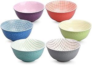 20 Ounce Pad Printing Porcelain Bowls Set for Salad Pasta Dessert Rice, Noodle Soup Snack Large SET OF 6