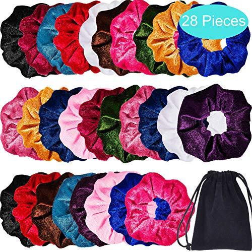Bememo 28 Pieces Hair Scrunchies Elastics Velvet Scrunchies Set Hair Bands Scrunchies Scrunchy Hair Ties Ropes for Women or Girls Hair Accessories ()