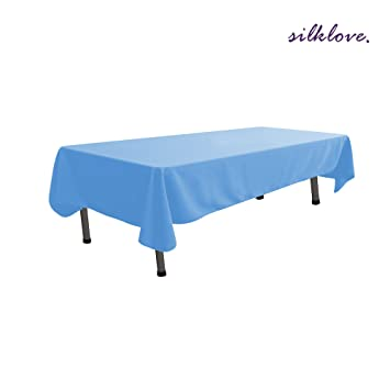 SilkLove Tablecloth   60 X 102 Inch  Baby Blue Rectangular Polyester Table  Cloth,