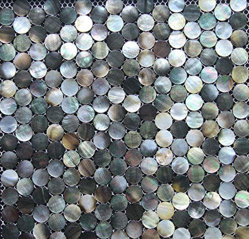 (Siciz Black Penny Round Mother of Pearl Mosaic Tile Genuine Shell Tiles 5 Square)