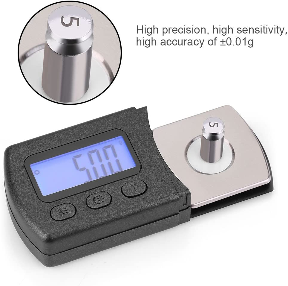 Zerone LCD Digital Cartridge Stylus Tracking Force Gauge Scale 0.01g with 5g Calibration Weight for Phono Cartridge