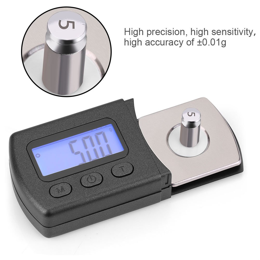 Stylus Force Gauge con Pantalla LCD Cartucho Digital Stylus Tracking Force Gauge Scale 0.01g con 5 g Calibraci/ón Peso Stylus Gauge Man/ómetro de Aguja de Vinilo Phono