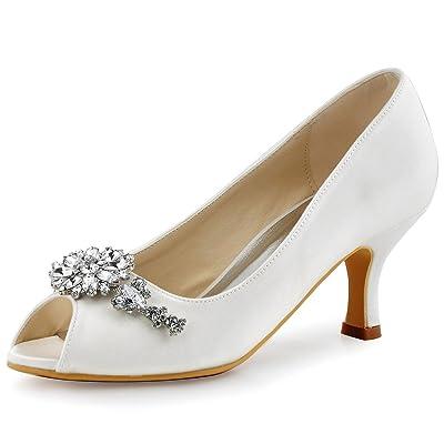 ElegantPark HP1541 Women Pumps Mid Heel Peep Toe Flower Rhinestones Satin Evening Prom Wedding Shoes | Pumps