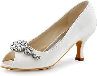Elegantpark HP1541 Raso Diamante Gioielli Peep toe Tacco Alto Scarpe da sposa Ballo Partito da Sera