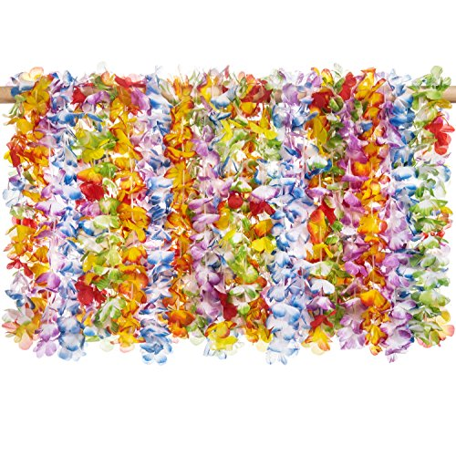 36 pack Premium Tropical Hawaiian Luau Flower Lei Necklaces - Tropical Multicolor Combo Party Set - by Haute (Silk Floral Lei)