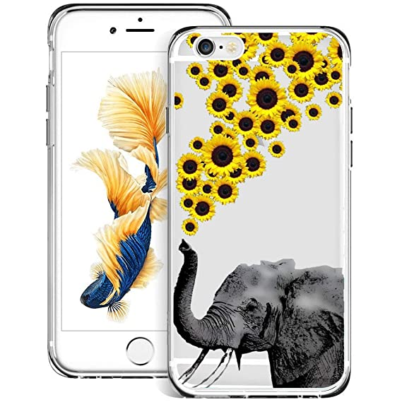 the best attitude c6652 09f37 Amazon.com: Sunflower Elephant iPhone 6s Plus 6 Plus Case Clear, By ...