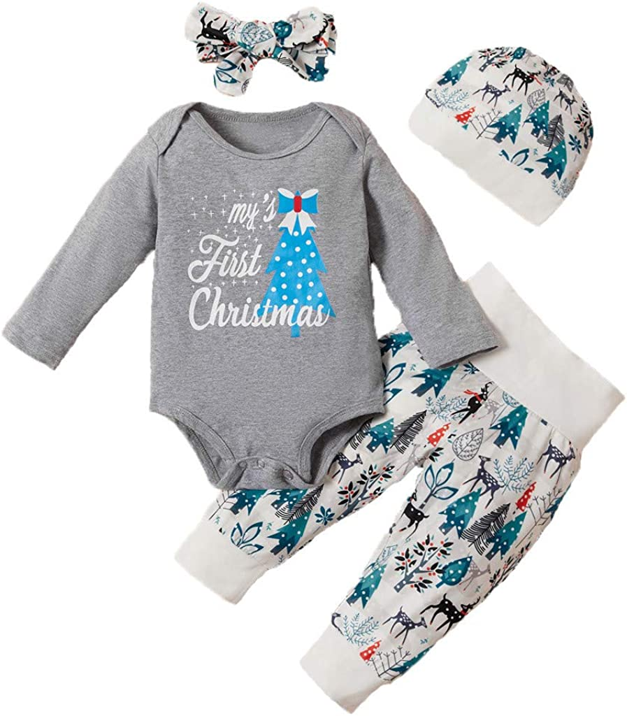 Kehen Girl Christmas Clothes Kid Toddler Baby Winter Outfit 3pc Ugly Santa Claus Shirt Mini Dress+Pants+Headband