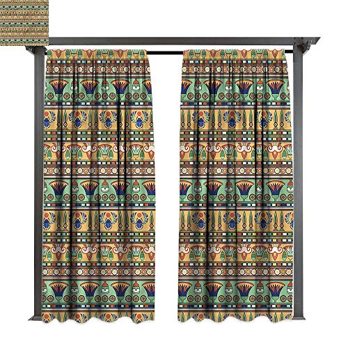 cobeDecor UV Protectant Indoor Outdoor Curtain Panel Egyptian Ethnic Lily Scarab for Lawn & Garden, Water & Wind Proof W108 ()