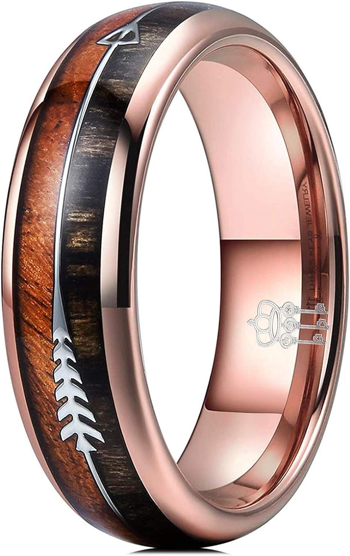THREE KEYS JEWELRY 6mm 8mm Koa Zebra Wood Arrows Inlay Tungsten Wedding Rings Vikings Hunting Bands for Men Women