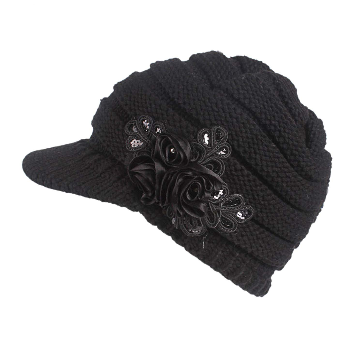 Ron Kite New Cable Knit Visor Cap Hat with Sequined Flower Accent Slouchy Beanie Knitted Beret Cap Warm Knitting Hats