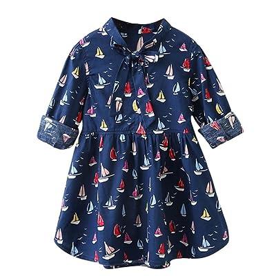 Anxinke Little Girls Sailboat Printed Long Sleeve Ruffled Princess Dress With Bowknot
