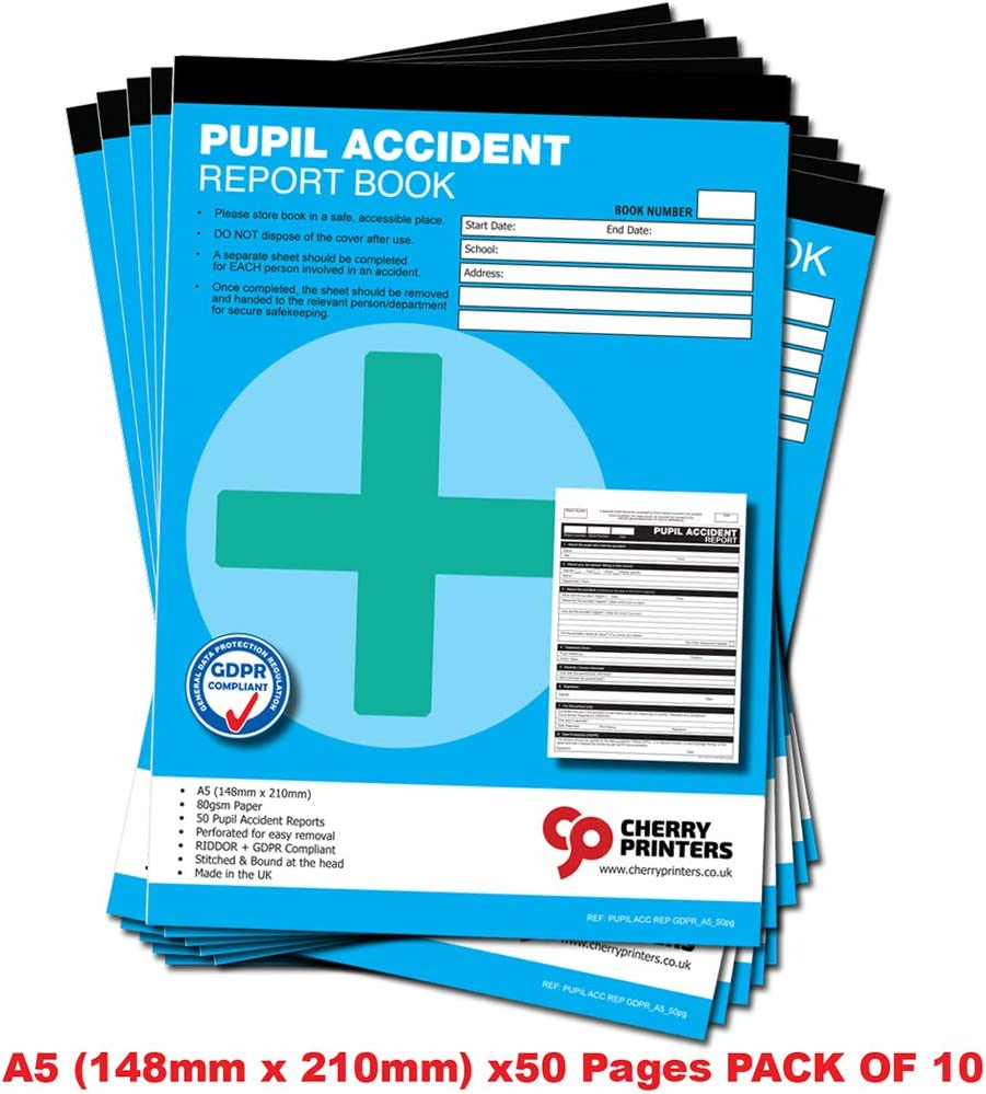 Cherry GDPR Pupil Accident Report//First Aid Book A5 50 Pages Pack of 10