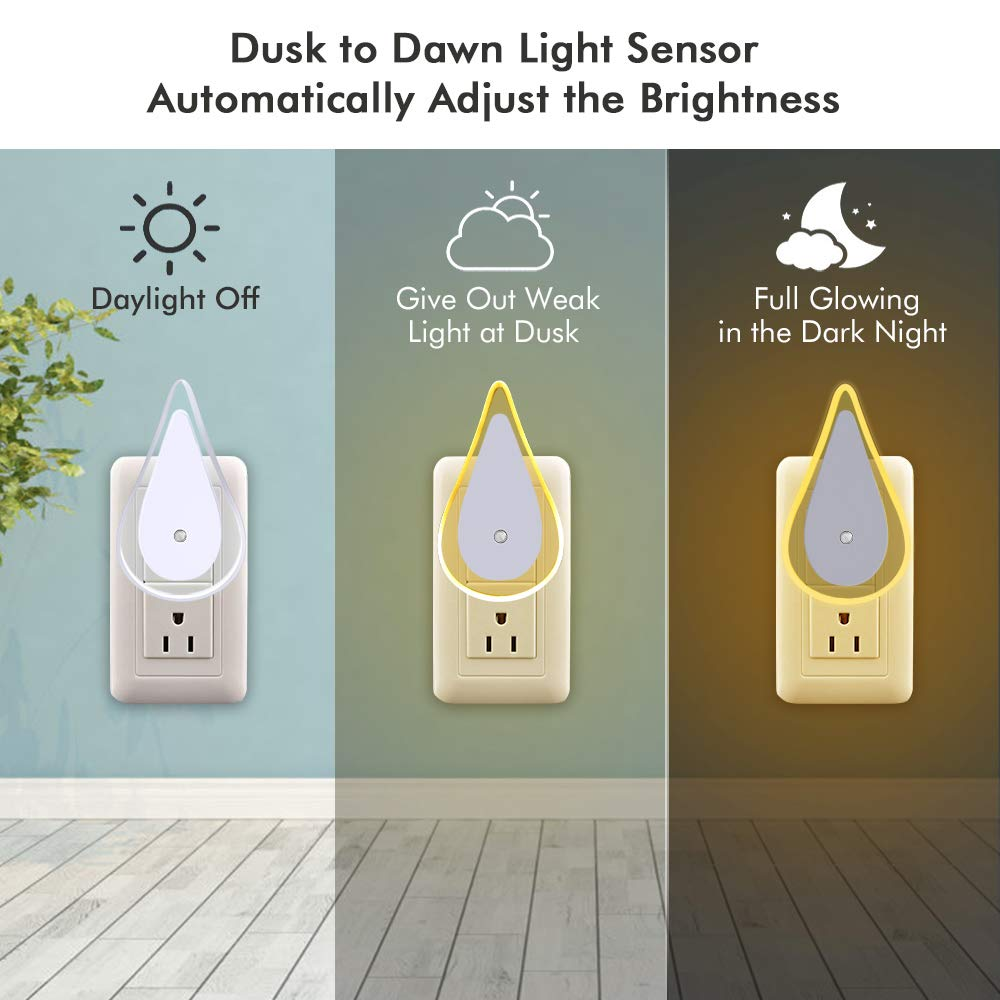 2 Pack B-right Plug in Night Light, LED Night Light with Dusk to Dawn Sensor, Portable Soft Night Light for Kids, Adults, Bedroom, Bathroom and Hallway (Warm White)