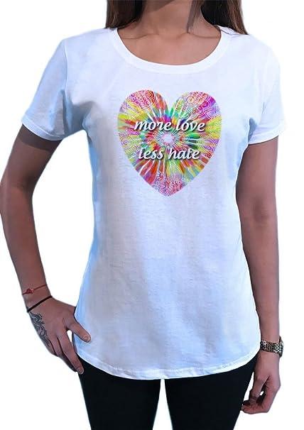 Camiseta de Mujer Más Amor, Menos Odio Patrón Floral de Corazón Tropical TS1442: Amazon.es: Ropa y accesorios