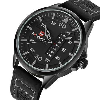NAVIFORCE Original Genuine Leather Quartz Date Week Waterproof Sport Men's  Wrist Watch 9074 Black Gray