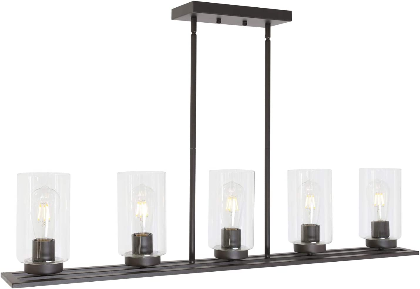 Lucidce 5 Lights Contemporary Chandeliers Pendant Lighting Dining Room Lighting Fixtures Hanging Oil Rubbed Bronze for Kitchen Island with Clear Glass Shades Linear