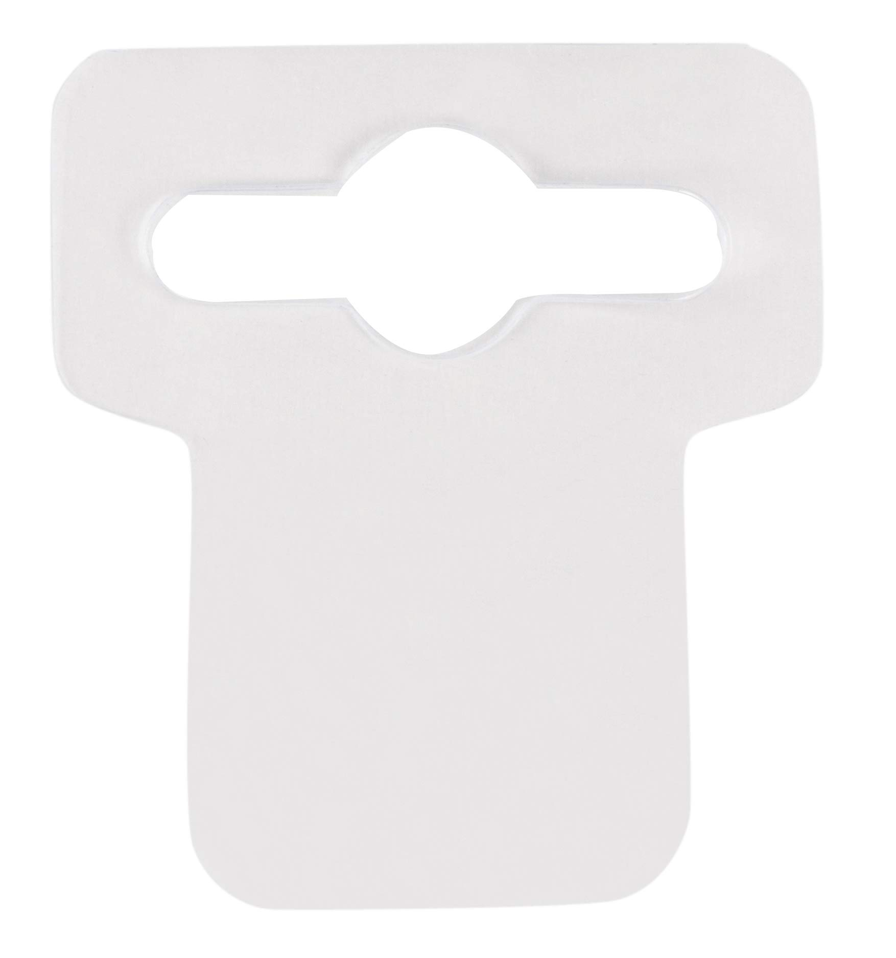 Plastic Hang Tabs - 1000-Pack Hanging Display Tabs with Peel and Stick Adhesive for Retail Store, Pegboard, Slatwall Hook Hangers, Euro Slot Hole Design, Clear, 1.6 x 1.78 Inches