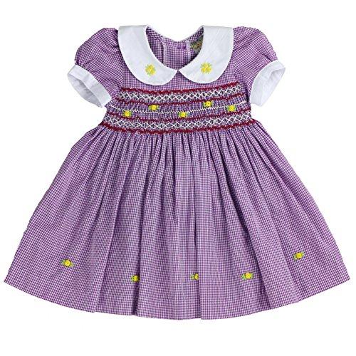 - sissymini - Infant and Toddlers (12M-4T) Soft Cotton Plaid Hand Smocked Dress | Paulina Padfield's Plaid (Purple, 24M)