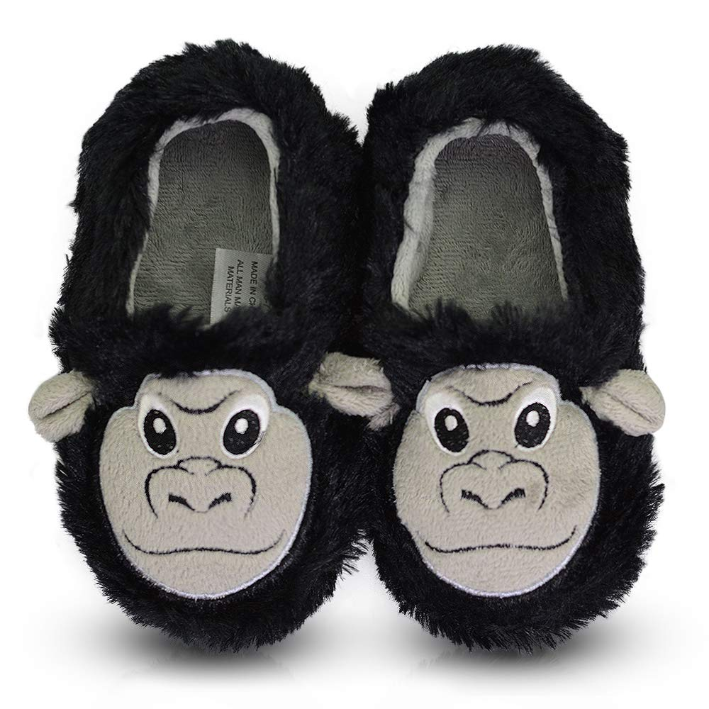 LA PLAGE Boys Comfy Indoor/Outdoor Animals Warm Bedroom Shoes for Kid 10-11 US Orangutan