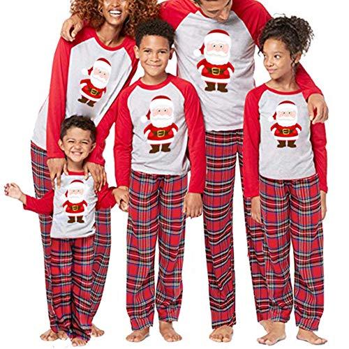 Family Pajamas Matching Sets Christmas Santa Claus Top and Plaid Pants 2 Piece Home Sleepwear Set (XL, -