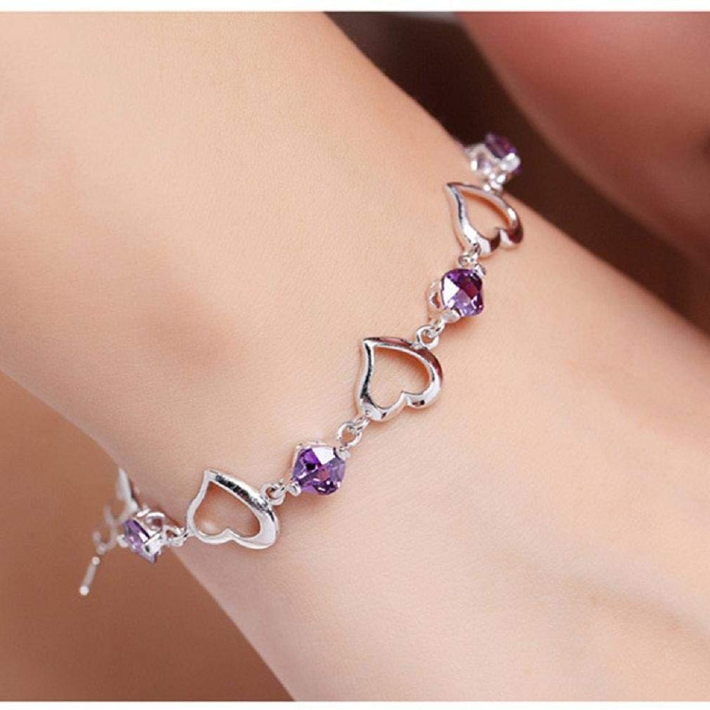 Purple Noopvan 1X Elegant Bracelet Crystal Adjustable Charm Amethyst Heart Hand Chain For Womens Girls Party Wedding Jewellery