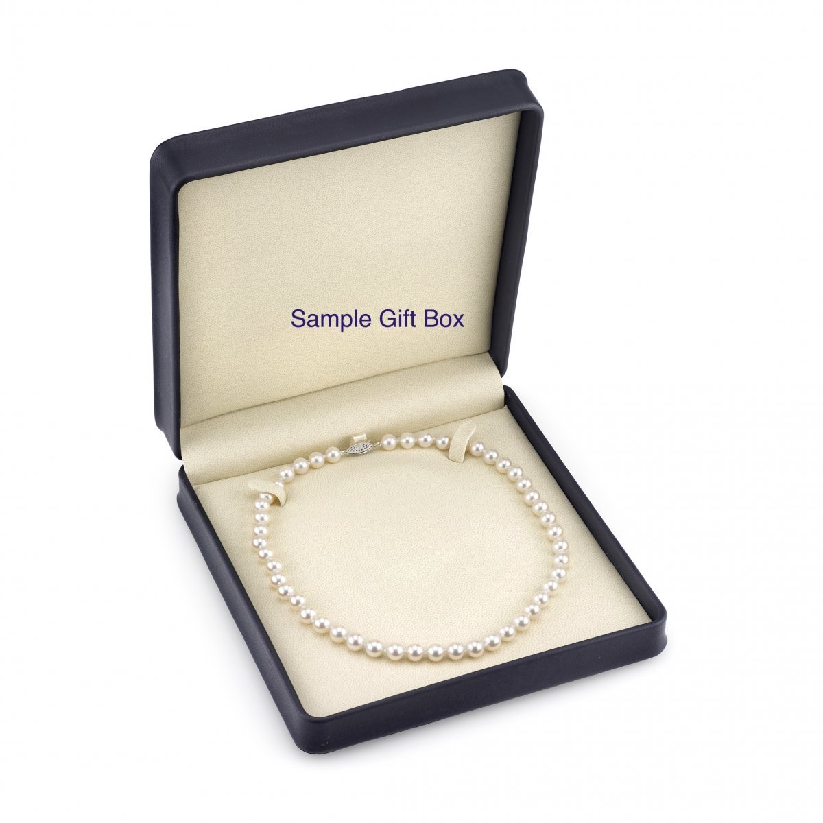 THE PEARL SOURCE 14K Gold 8.0-8.5mm AAA Quality Round Genuine White Japanese Akoya Saltwater Cultured Pearl Necklace in 20 Matinee Length for Women