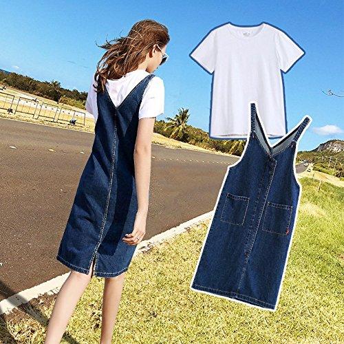 MiGMV?Jupe en Denim Robe Longue avec Deux Morceaux de Sangle, Jupe en Denim Dress Costume,S,Tailleur (Jupe Ceinture T Shirt)