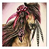 DIY 5D Diamond Painting, eZAKKA Full Square Drill Paintings Pictures Arts Craft for Home Wall Decor, Family Activities and Emotional Adjustment (India Horse, 8x8inches)
