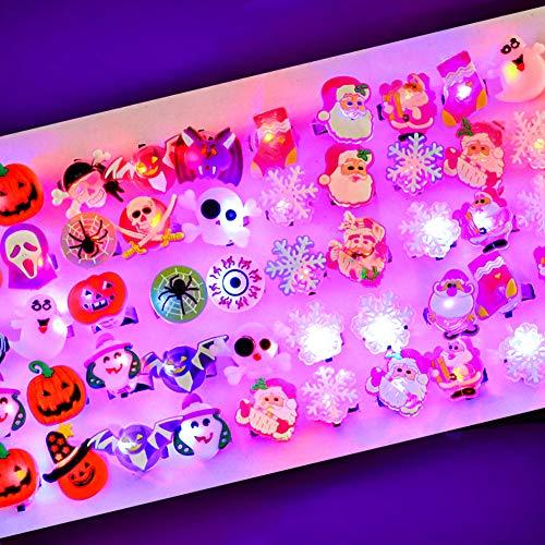 LOVESTOWN 50 Pcs LED Light Up Rings for Kids, 25 Pcs Halloween LED Glow Rings and 25 Pcs Christmas Light Up Rings Halloween Light Up Favors Christmas Party Favors for Halloween Party Christmas Decorations