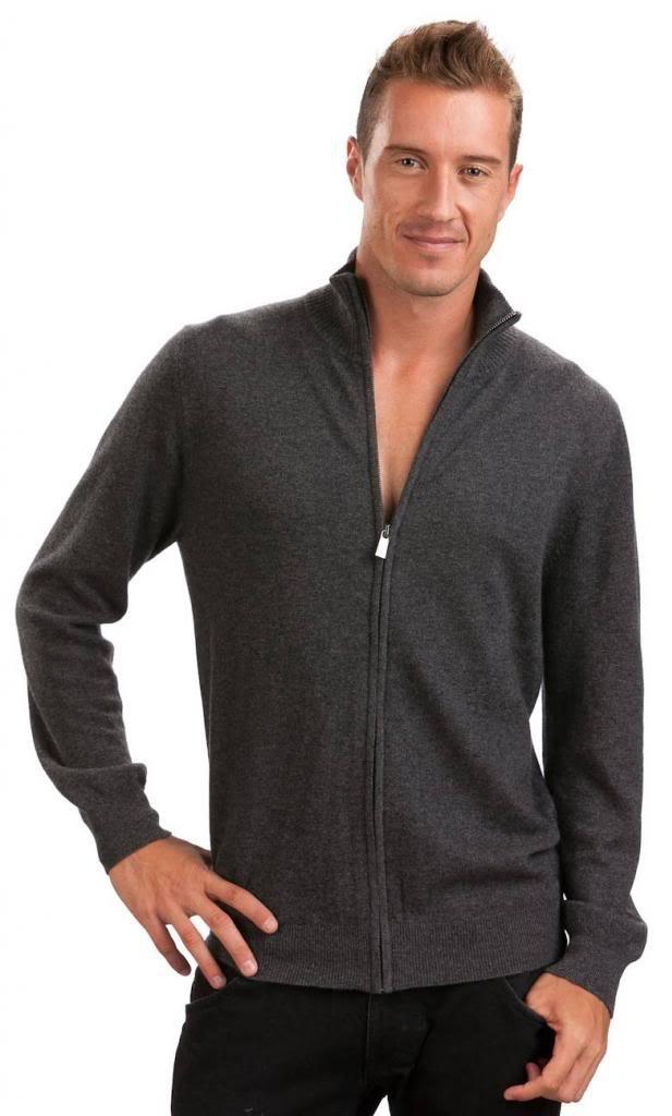 Men's Zip Cardigan - 100% Cashmere - by Citizen Cashmere, Dk Gr S 42 103-09-01