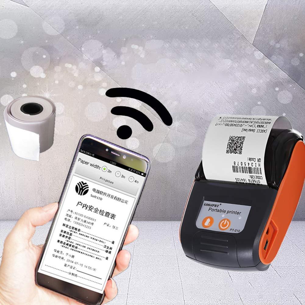 Bluetooth Impresora, 58Mm Térmico Impresora con USB Batería ...