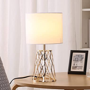COTULIN Fashion Decorative Golden Metal Hollow Base Bedside Living Room Bedroom Table Lamp,Desk Lamp with White Fabric Shade