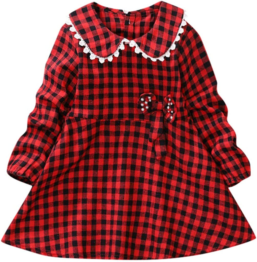 Voberry Toddler Baby Kids Girls Long Sleeve Spring Ruffles Lace Patchwork Plaid Dress Casual Clothes