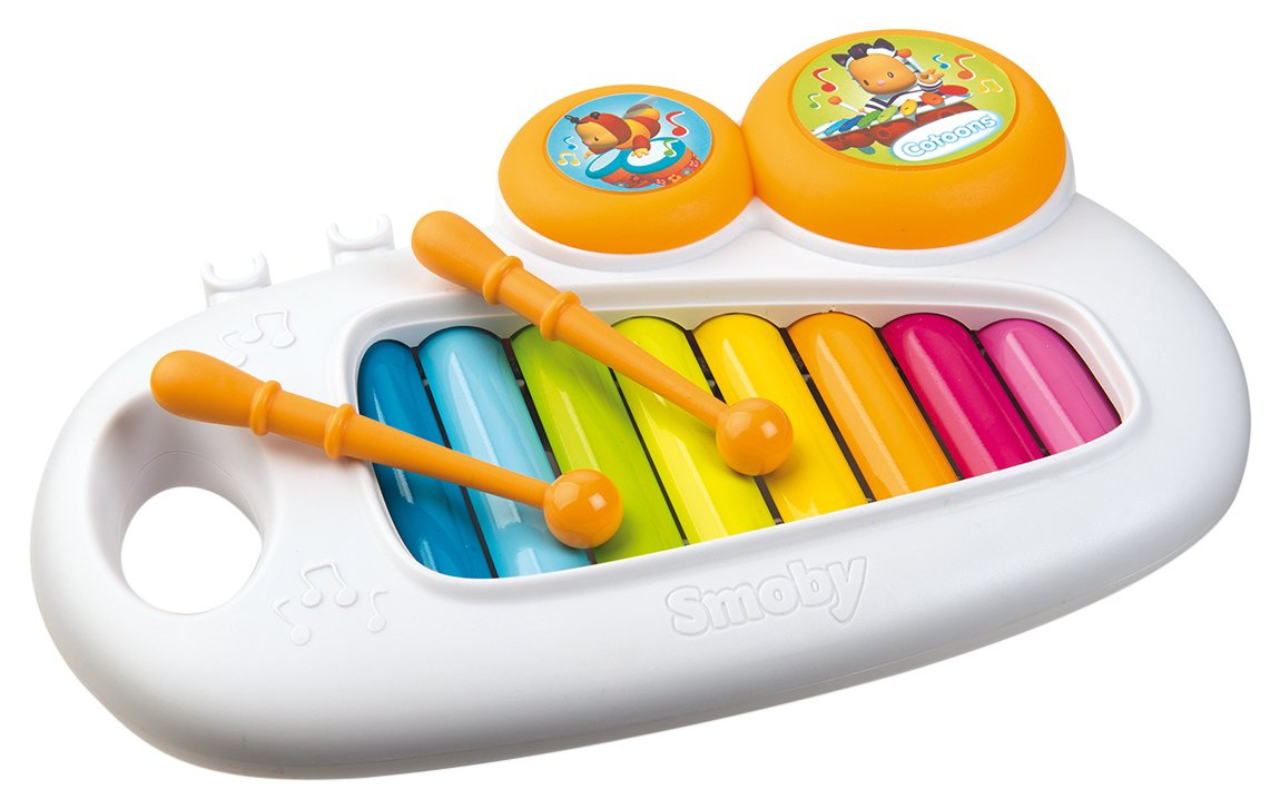 Smoby - 110500 - Cotoons Xylophone - + 2 Baguettes et 2 Tambourins