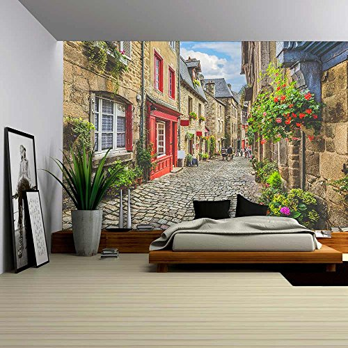 Street Old House (wall26 - Beautiful View of Scenic Narrow Alley with Historic Traditional Houses and Cobbled Street in an Old Town in Europe - Removable Wall Mural | Self-adhesive Large Wallpaper - 100x144 inches)