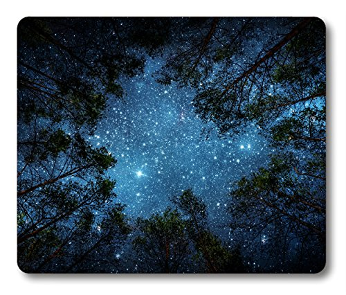 Smooffly Beautiful Night Sky Mouse Pad by, The Milky Way and The Trees Mouse Pad,Sublime Forest Nature View Rectangle Non-Slip Rubber Mousepad Gaming Mouse Pad