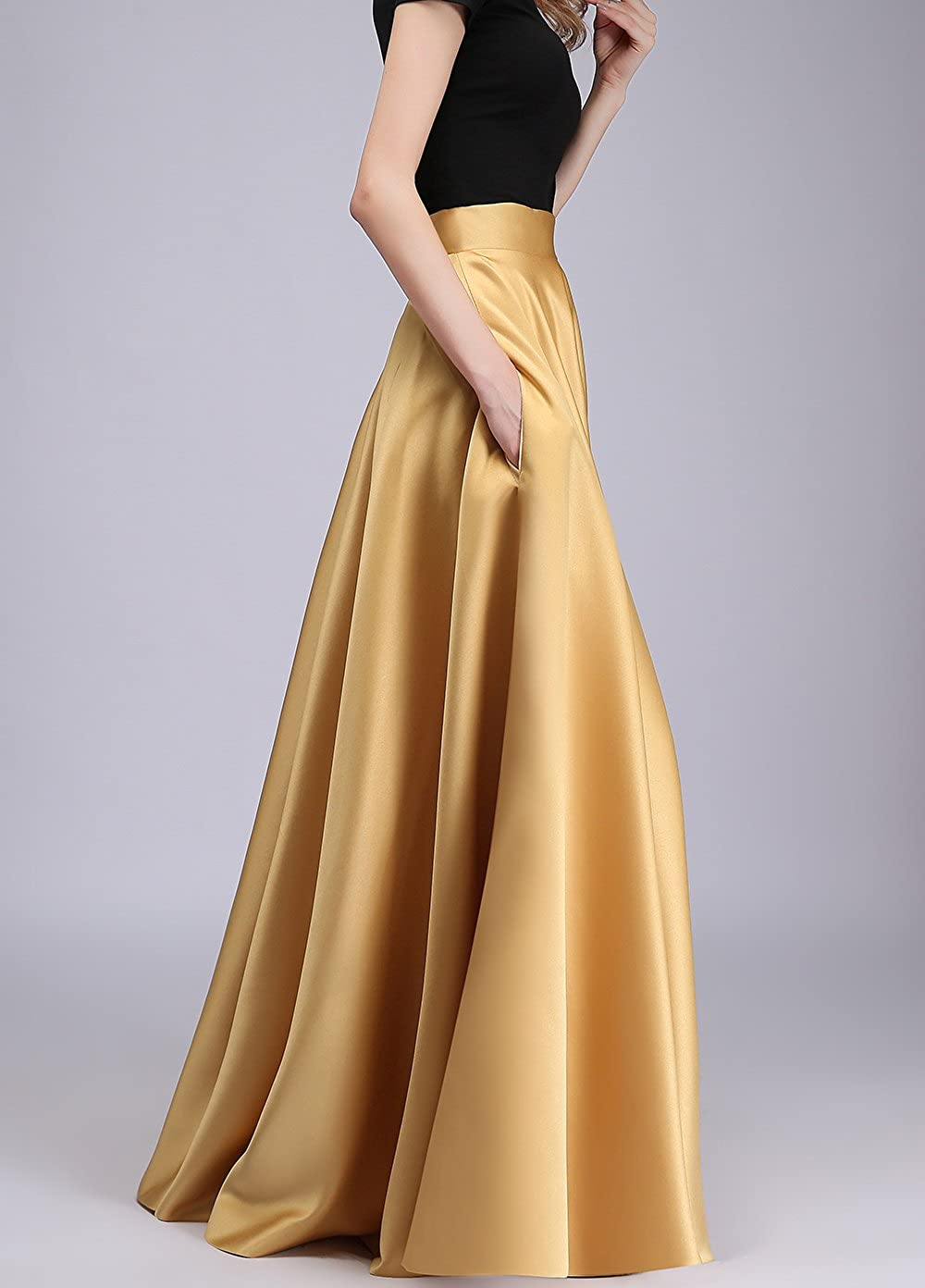 Women's Gold Satin Floor Length High Waist Formal Skirt (24 Colors Available) - DeluxeAdultCostumes.com