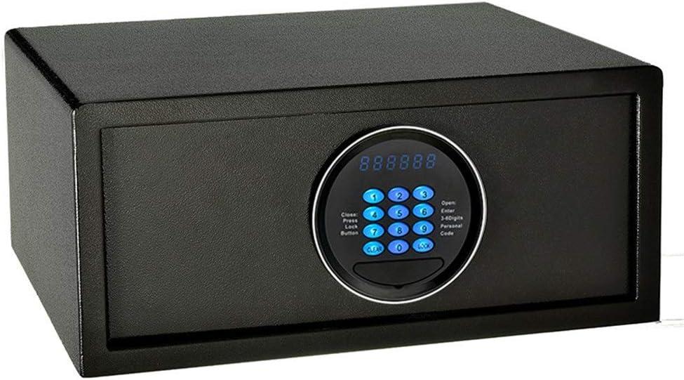 電子金庫 安全なベッドサイド盗難防止指紋パスワード金庫すべてのスチールシングルドアのキーストレージキャビネットジュエリーをウォールマウント 盗難防止 (色 : Black, Size : 42x20x37cm)