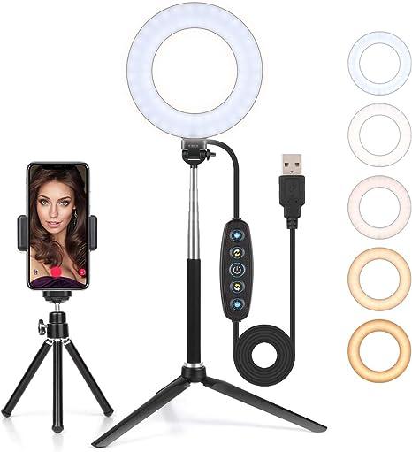 """Anillo de Luz LED Regulable 6/"""" Aro de Luz para Fotografía Maquillaje Selfie"""