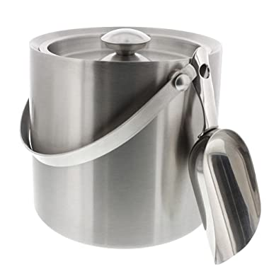 Stainless Steel Double Walled Ice Bucket with Scoop - Barware Serveware for Parties Events Gatherings 1.4 Liters 6.6H x 7.5W Inches