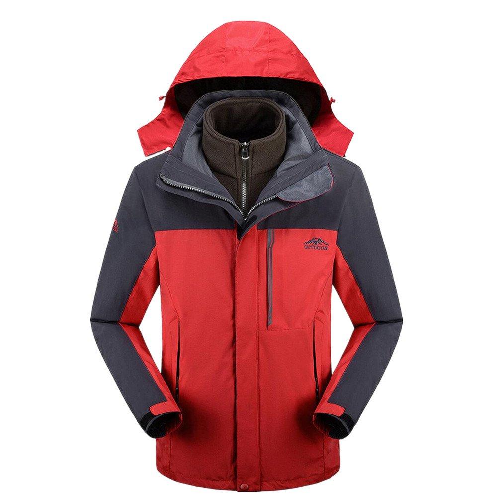 LeKuni Herren Hardshelljacken Oberbekleidung Wasserdichte Winddichte Jacke 3-in-1 mit Kapuze Outdoor Wanderjacke Ski