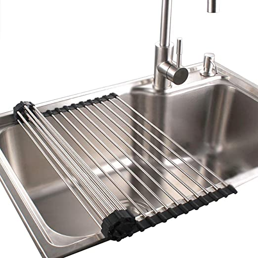 Amazon.  Roll Up Dish Drying Rack in Sink Stainless Steel