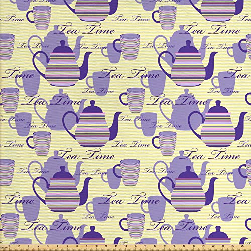 - Ambesonne Tea Party Fabric by The Yard, Striped Teapots Cups Silhouettes Classical Calligraphy Pattern, Decorative Fabric for Upholstery and Home Accents, 2 Yards, Pale Yellow Purple Lavender