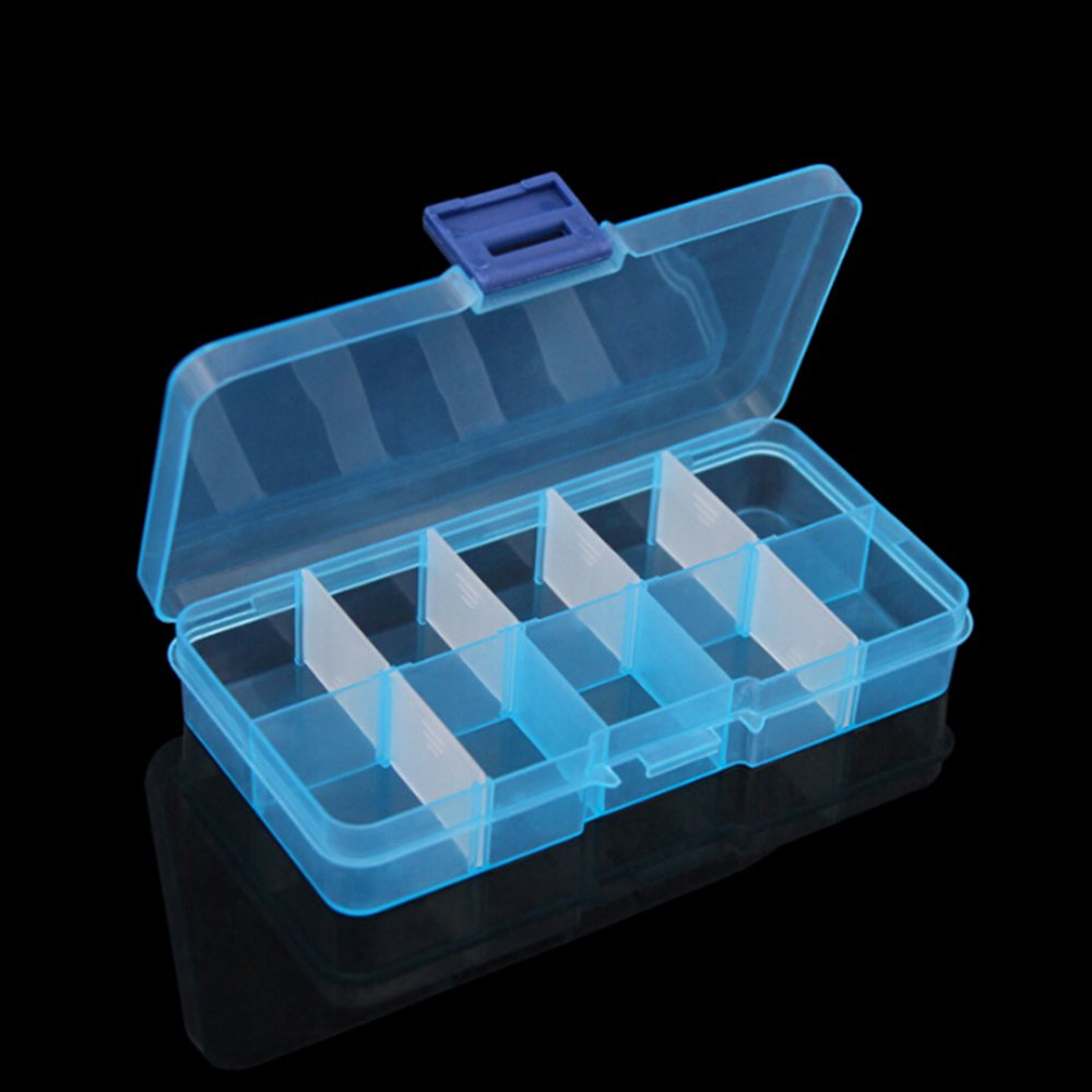 TIMLand Clear Plastic Storage Box, 10 Compartments Small Durable Small Accessories Container for Beads Earring Jewelry - Blue by TIMLand (Image #2)