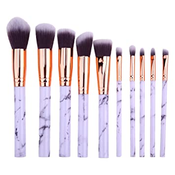ab0c37c35904 JUN_L 10 Pieces Marble Makeup Brushes Special Marble Pattern Premium Make  Up Brush Set Synthetic...