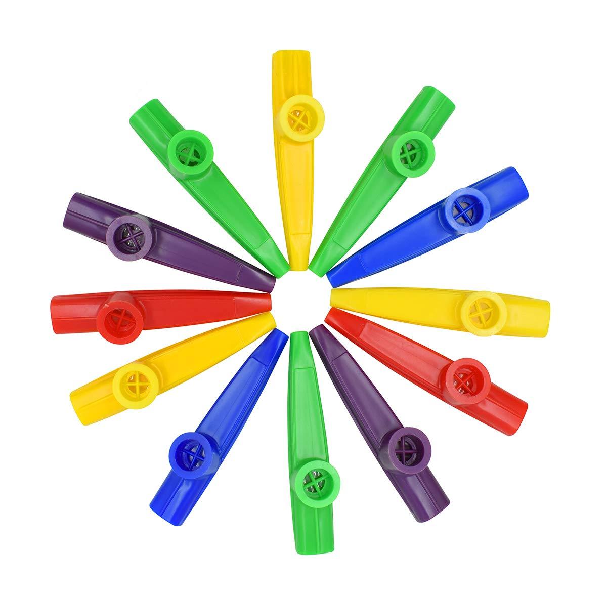 12Pcs Kazoo With 20Pcs Kazoo Flute Diaphragms, Durable Plastic Kazoo Musical Instruments, Good Companion for Guitar, Ukulele, Violin and Keyboard (Yellow, green,blue,red,purple)