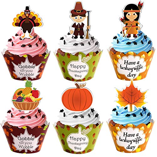 48 Pcs Thanksgiving Cupcake Toppers Wrappers Turkey Pumpkin Cupcake Toppers for Thanksgiving Party Decorations Supplies