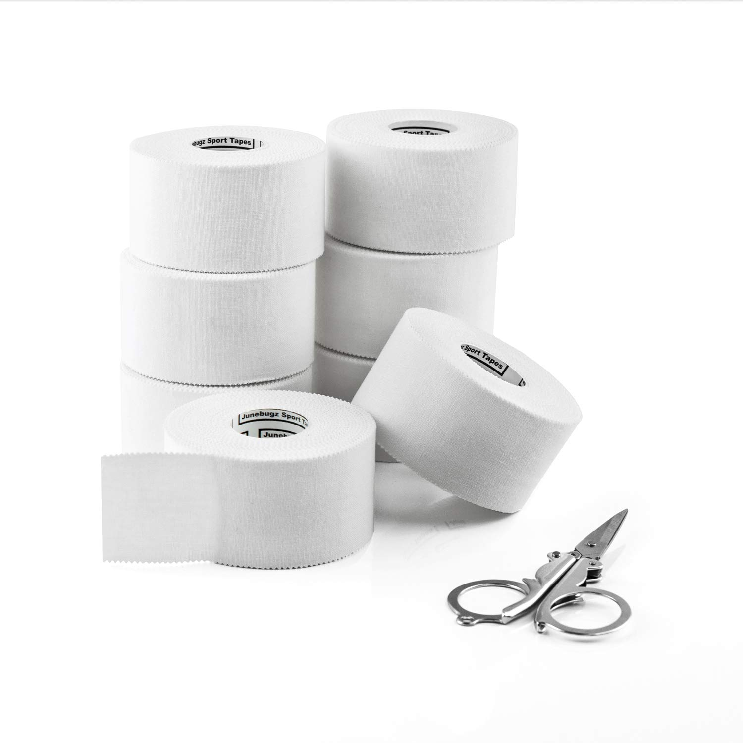 Sport Tape White (8 Rolls |1.5 inch x 45 Feet/Roll)- JuneBugz Zinc Oxide Medical Athletic Tape Cotton/First Aid Injury Wrap/Zigzag Edge/Easy Tearing/No Sticky Residue or Latex + Free Folding Scissors