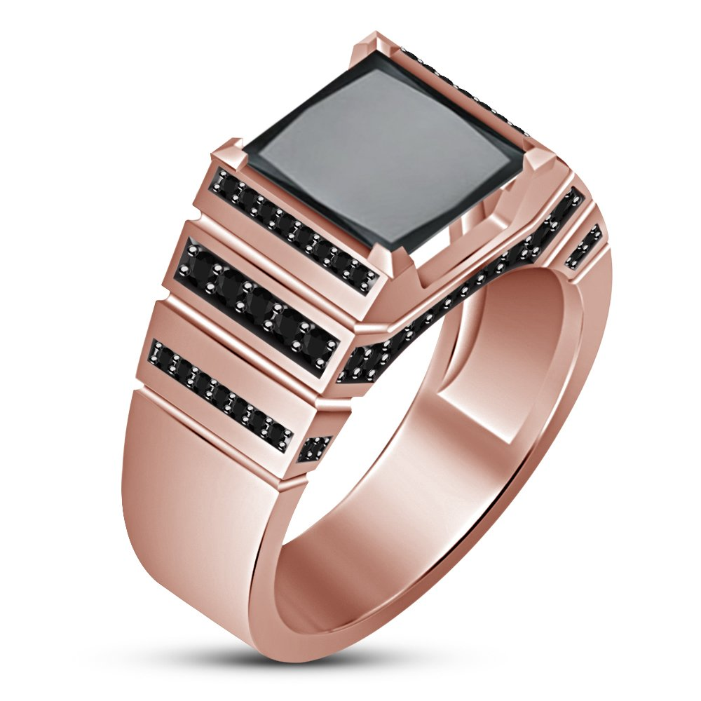 TVS-JEWELS Rose Gold Plated Sterling Silver 925 Princess /& Round Cut Black CZ Mens Band Ring